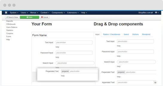 Drag and drop forum builder in QuickSell